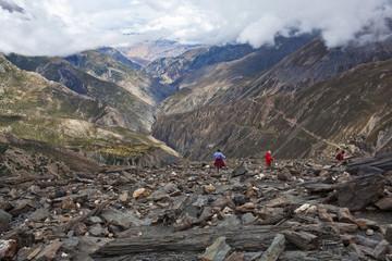 Panorama of Himalaya mountain landscape in Upper Mustang, Nepal