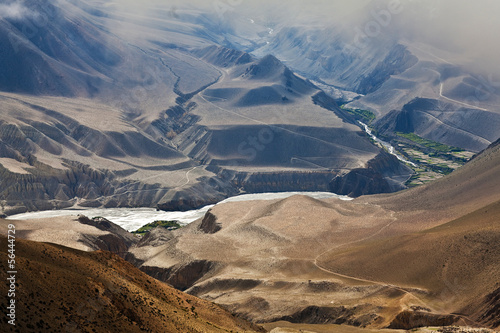 Panorama of Himalaya mountain landscape in Dolpo region, Nepal