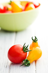 cherry tomatoes on table