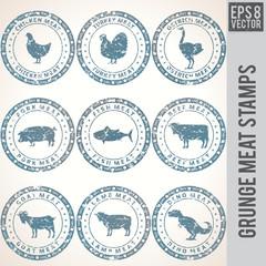 Grunge Meat Stamp Labels.
