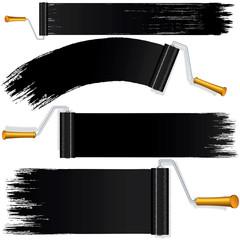Black Roller Brush on White Background.