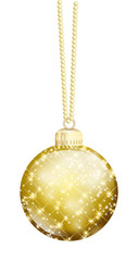 goldene Weihnachtskugel Glitzer