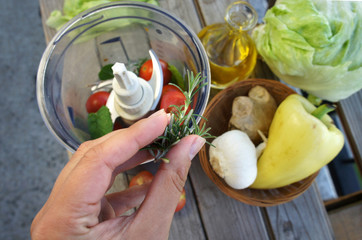 Salad preparation on the summer terrace