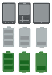 mobile phone and battery icon set