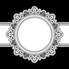 White lace, round frame on black