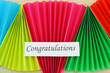 Congratulations card on colorful rainbow fan