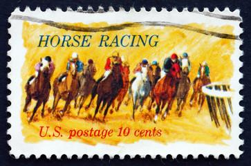 Postage stamp USA 1974 Horses Rounding Turn