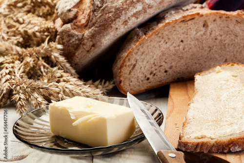 Fresh bread with butter