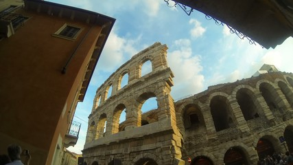 Time lapse Cloudscape of Arena di Verona, Italy, Europe