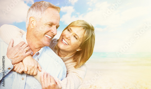 Old people over sea background