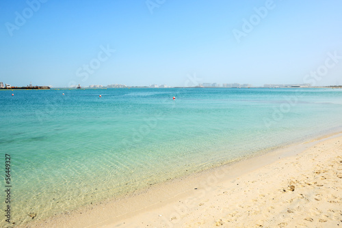 Beach of the luxury hotel with a view on Palm Jumeirah man-made