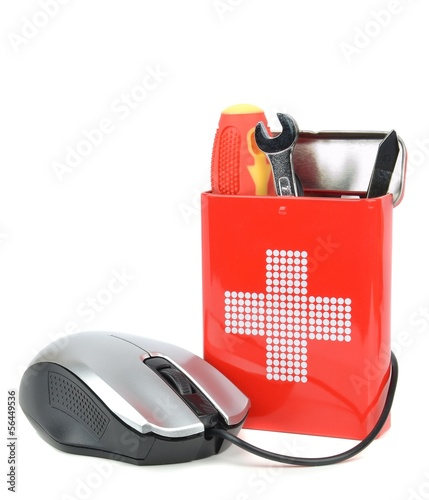 Computer repair concept with mouse and first aid box of tools