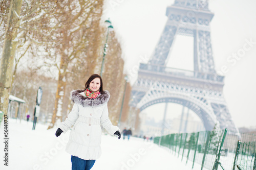 Girl enjoying beautiful winter day in Paris
