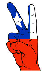 Peace Sign of Chilean flag
