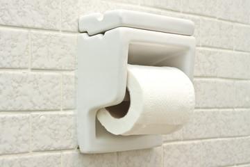 Tissue Paper Holder on White Wall