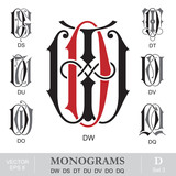 Vintage Monograms DW DS DT DU DV DO DQ