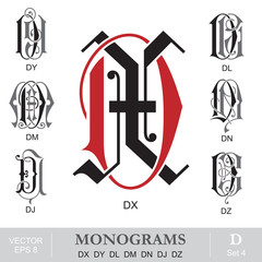 Vintage Monograms DX DY DL DM DN DJ DZ
