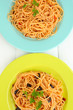 Italian spaghetti in plates on wooden table