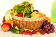 Fresh vegetables on table on light background