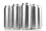 Metal cans of beer, isolated on white