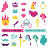Prince and Priness Party set - photobooth props - crown, mustach