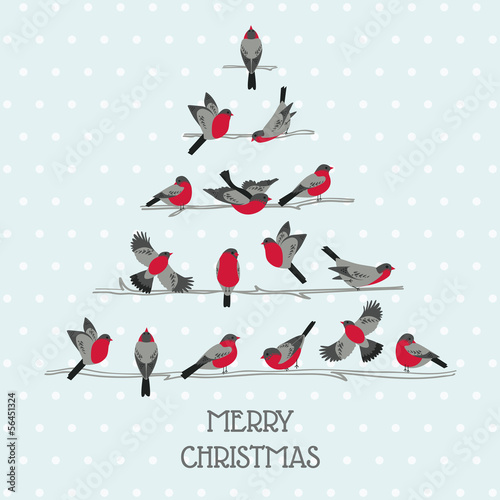 Retro Christmas Card - Birds on Christmas Tree