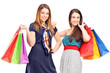 Two young females holding shopping bags