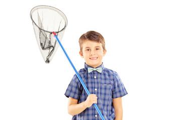 Kid holding a butterfly net