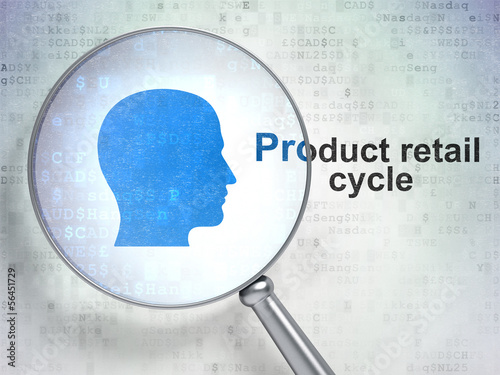 Advertising concept: Head and Product retail Cycle with optical