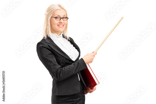 Female lecturer pointing with a stick