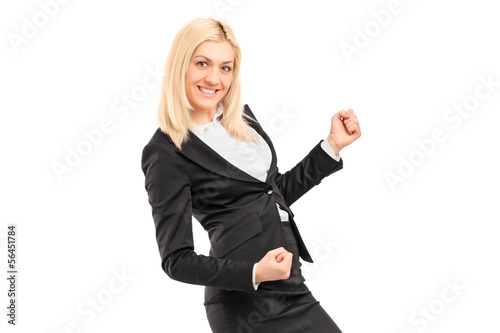 Young businesswoman gesturing happiness
