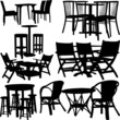tables and chairs collection - vector