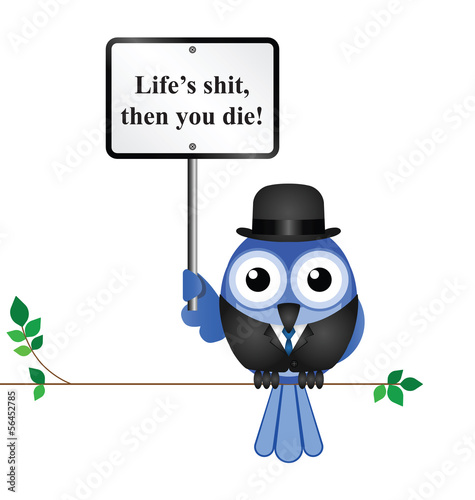 Miserable life proverb isolated on white background