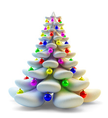 Christmas tree decorated with colorful balls isolated on white