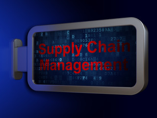 Advertising concept: Supply Chain Management on billboard backgr
