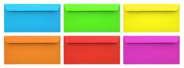 Set of multicolored envelopes