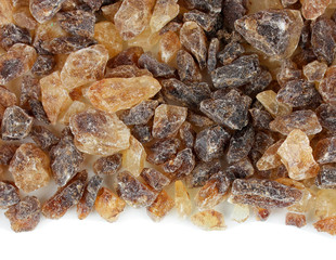 Caramelized sugar on white background
