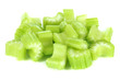 Fresh sliced green celery isolated on white
