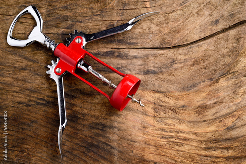 Corkscrew isolated on wood
