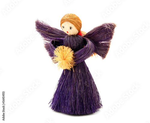 Christmas Angel tree decoration made from straw