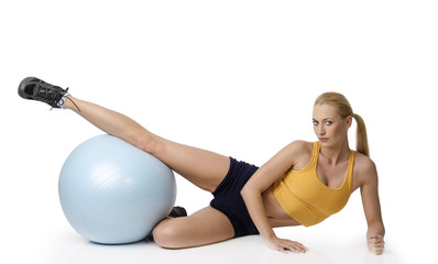 blond woman in fitness pose