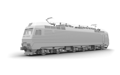 Gray locomotive 3d model isolated on white