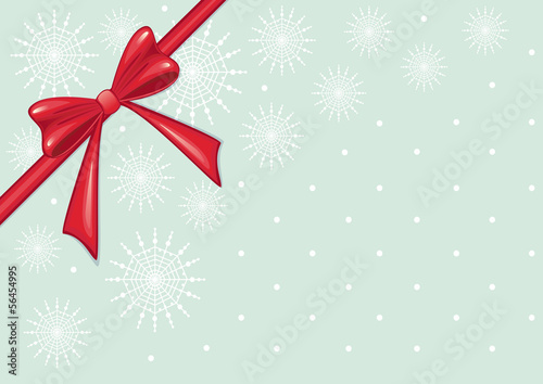 Red Christmas Bow on Snowflake Background