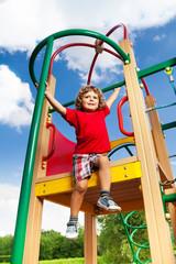 Active boy on playground