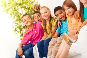 Close portrait of happy kids
