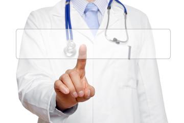 Arzt berührt Touchscreen