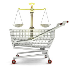 trade justice in shopping cart isolated