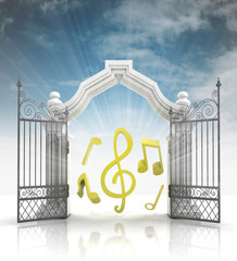 open baroque gate with music sounds and sky