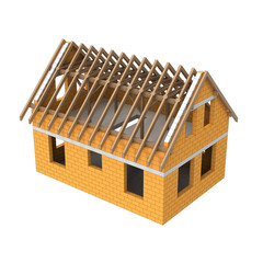 new wooden construction structural house detail