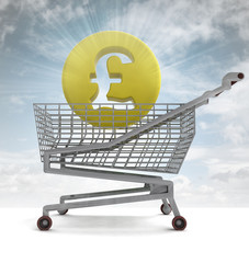 british pound in shoping cart with sky flare